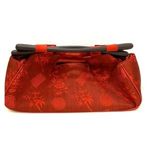 Red blossom embroidered Chinese purse